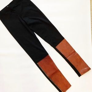 Black Leggings with Brown Leather & Zipper Details